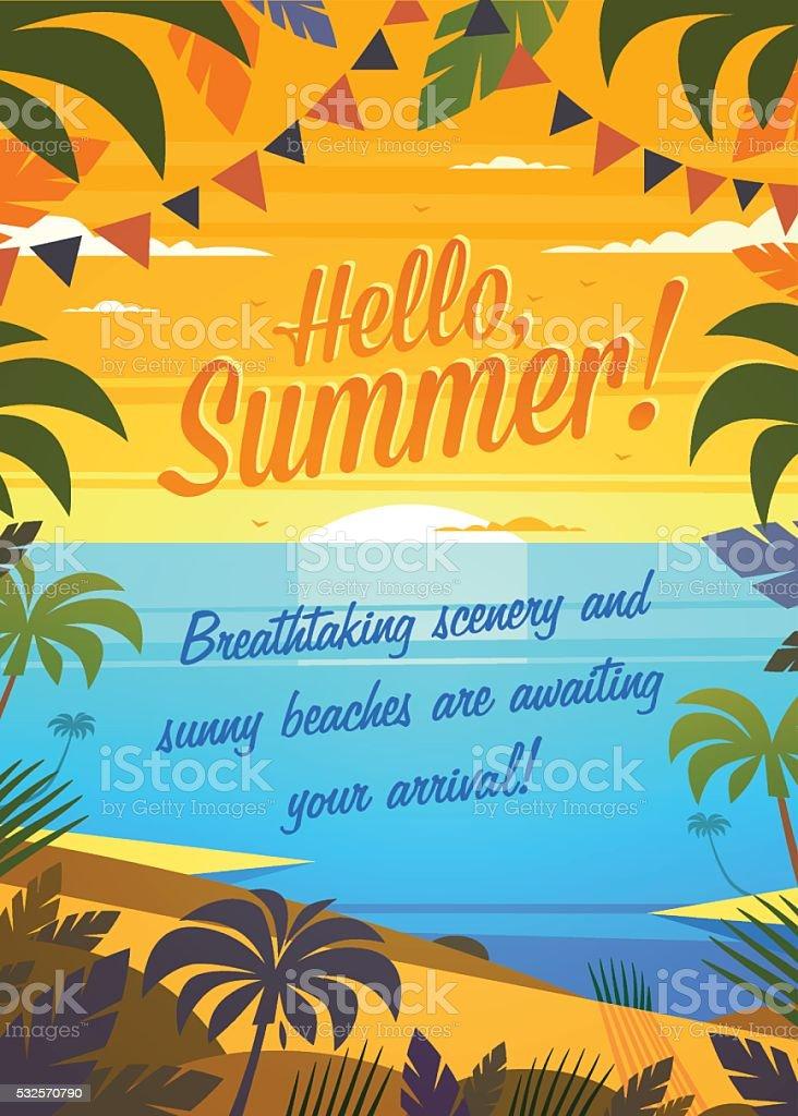 Summer Holidays ocean view. vector art illustration