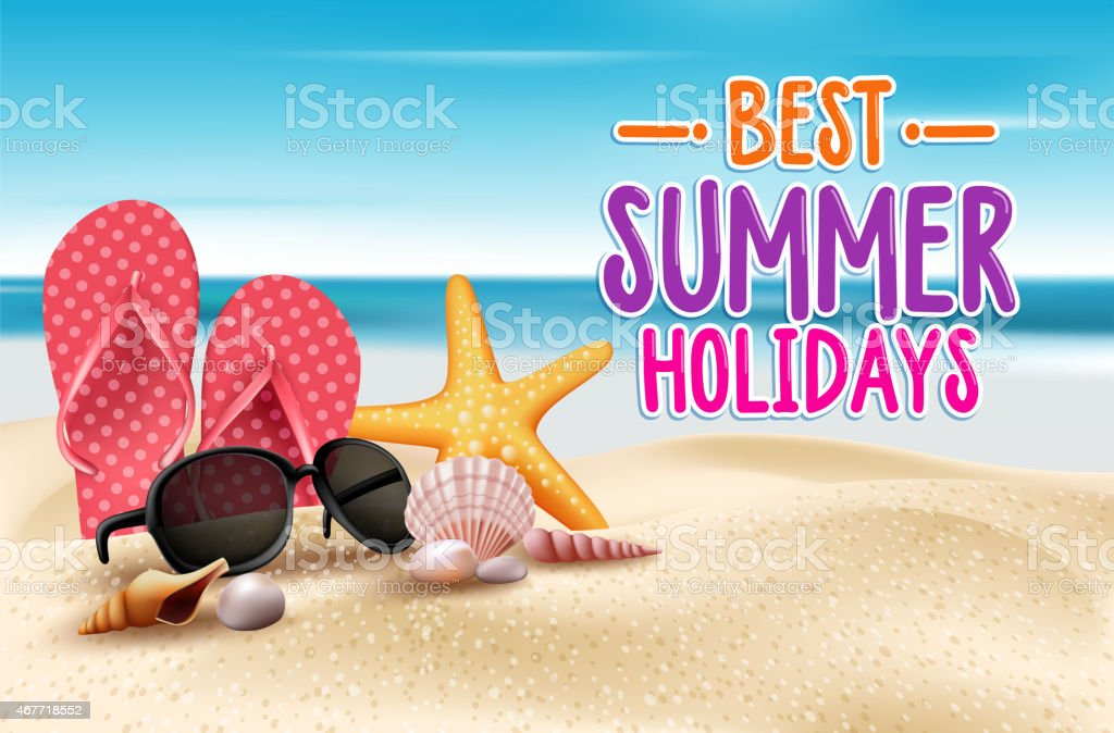 Summer holidays on the seashore advertisement vector art illustration