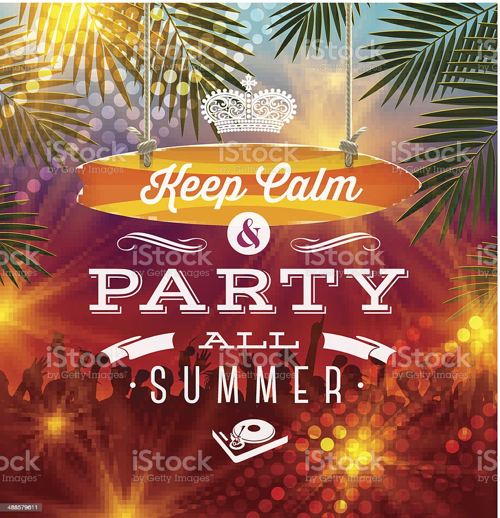 Summer holidays party greeting - vector type design vector art illustration