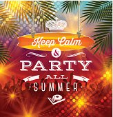 Summer holidays party greeting - vector type design