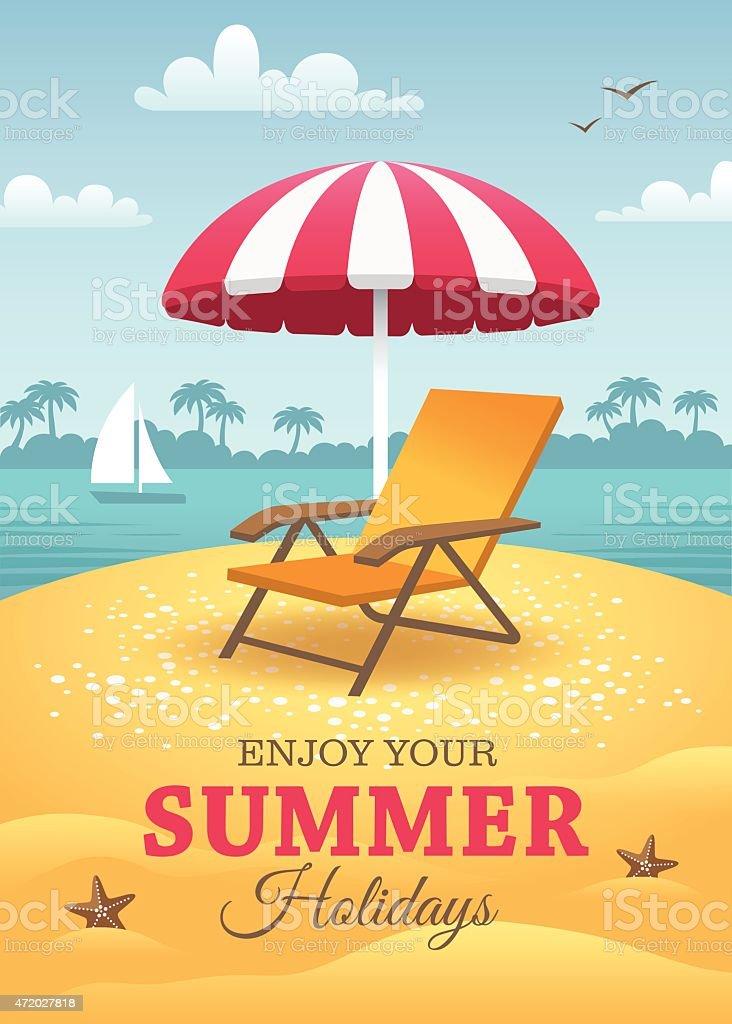 Summer holidays poster on the beach vector art illustration