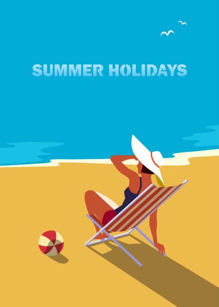 Summer holidays poster Summer seaside landscape. Blue ocean scenic view poster. Freehand drawn pop art retro style. Holiday vacation season sea travel leisure. Sea leisure relax. Vector tourist trip advertisement background seyahat noktaları illustrationsları stock illustrations
