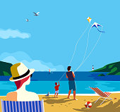 Kiting on sea beach. Family leisure activity on sand seashore. Colorful cartoon. Adult father, small boy son enjoy flying kites. Summer vacation tourist trip. Vector ocean seascape scenic background