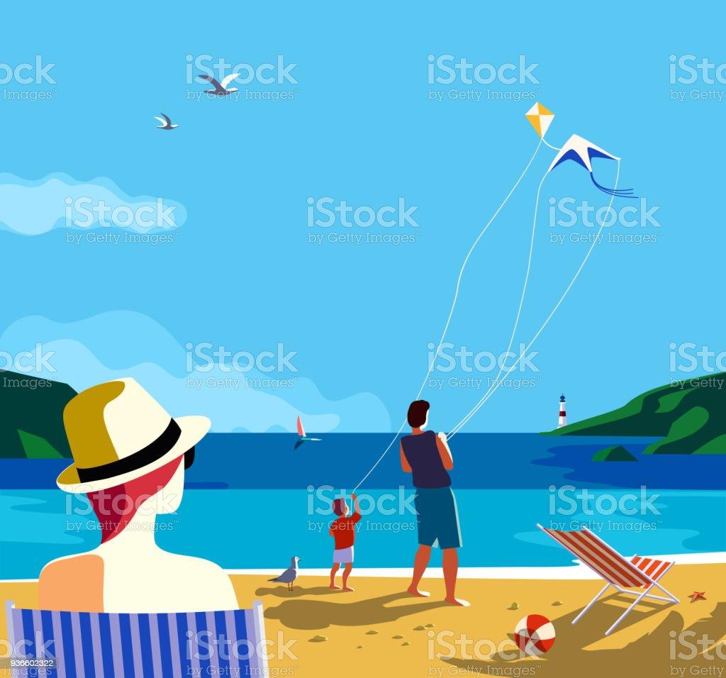 Summer holidays poster vector art illustration