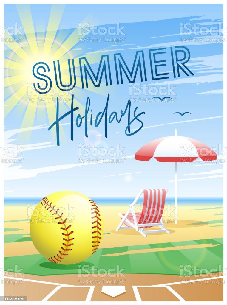 Summer Holidays. Sports card. Softball ball with deck chair and beach...