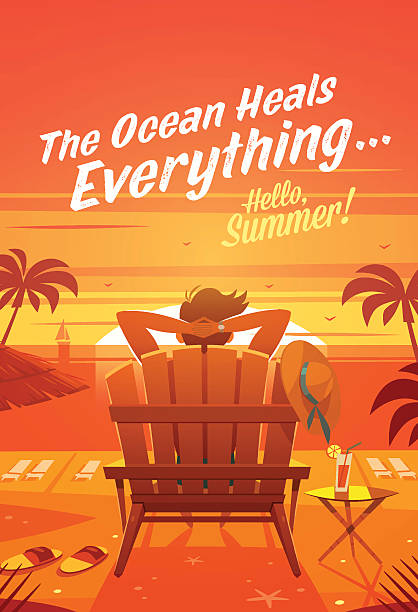 Summer Holidays. The man in a lounge chair. Sunset oceanview Cartoon styled vector background. Could be used as greeting card, poster or banner. adirondack chair stock illustrations