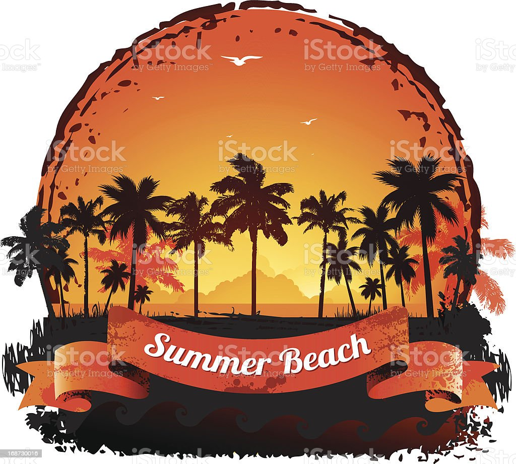 Summer holidays tropical sunset background royalty-free stock vector art