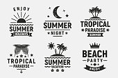 Summer holidays typography set. Vintage  badges, labels, posters. Summer beach, vacation, travel, tropical paradise emblems. Vector apparel template