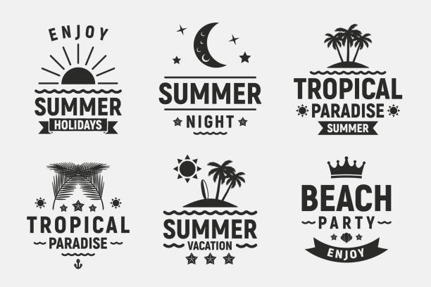 Summer holidays typography set. Vintage  badges, labels, posters. Summer beach, vacation, travel, tropical paradise emblems. Vector apparel template Vector illustration summer sun stock illustrations