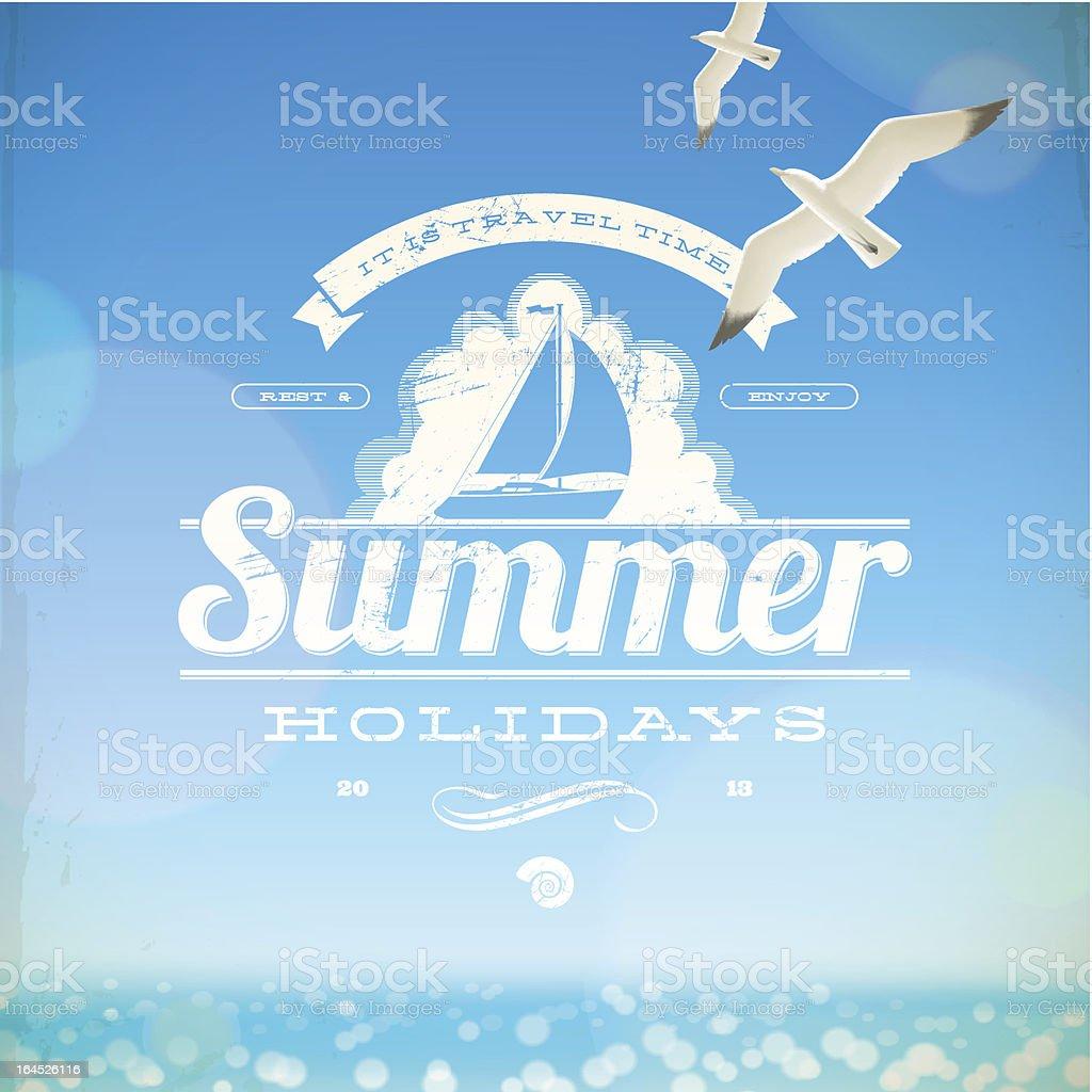 Summer holidays vector emblem vector art illustration