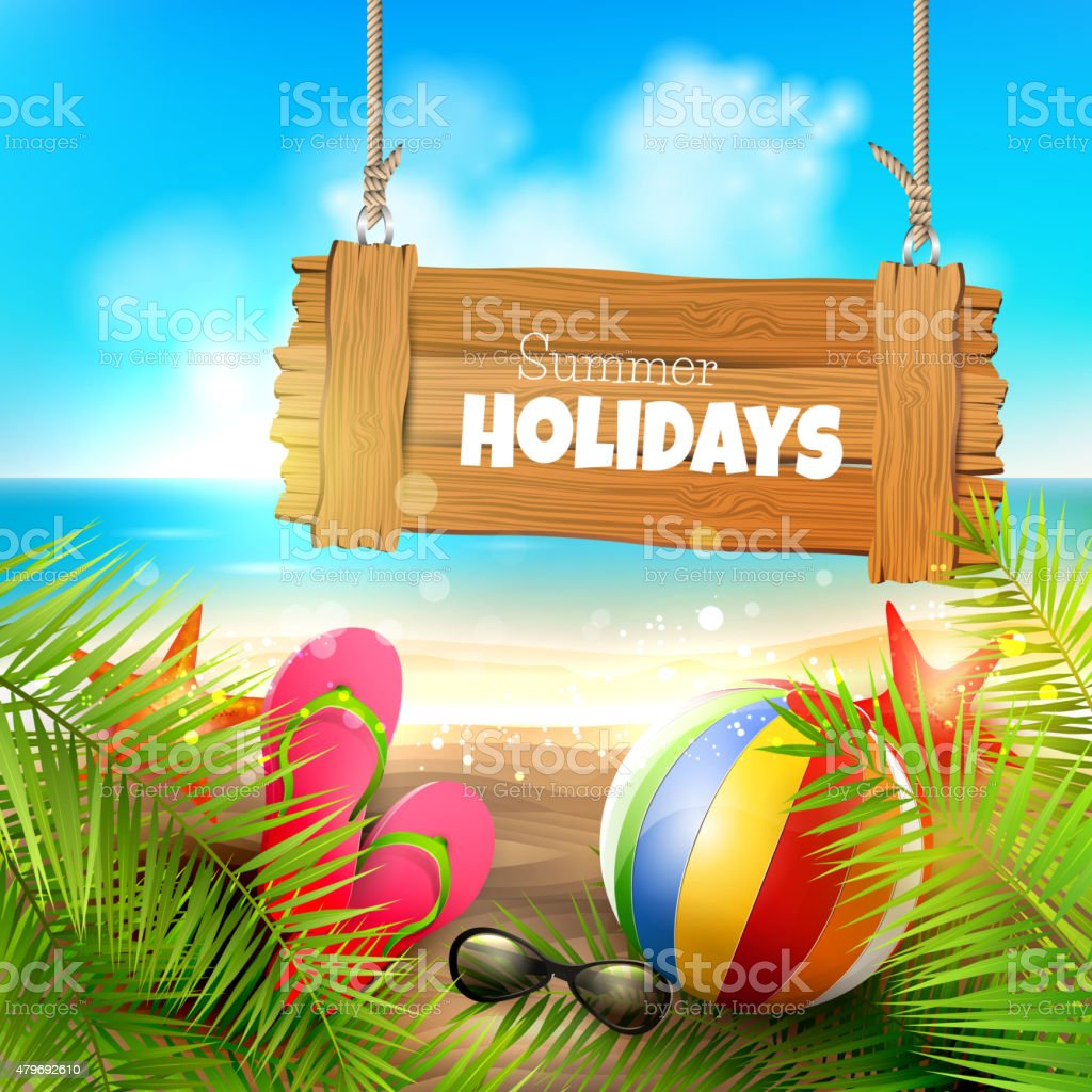 Summer holidays vector art illustration