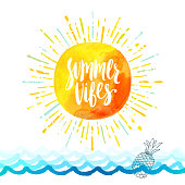 Summer vibes - Summer holidays greeting card. Handwritten calligraphy on a watercolor sun with multicolored sunburst above the ocean waves Vector illustration.