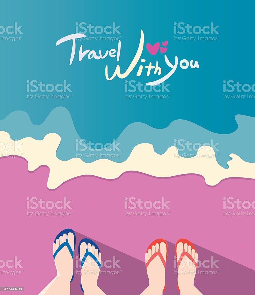 Summer holidays vector illustration,flat design couple travel concept vector art illustration