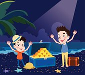 Summer holidays vector illustration,flat design exciting treasure hunting concept