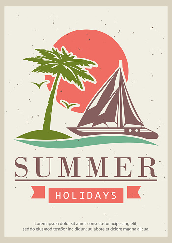 Summer holidays grunge typography poster design template, vector illustration in retro style. Sailing trip concept for banner, flyer.