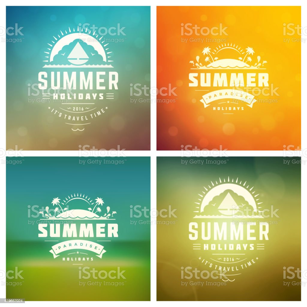 Summer Holidays Vector Retro Typography Set messages and Illustrations for vector art illustration