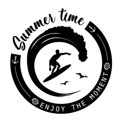 Summer Holidays Vintage Poster, Label Surfer on the Wave