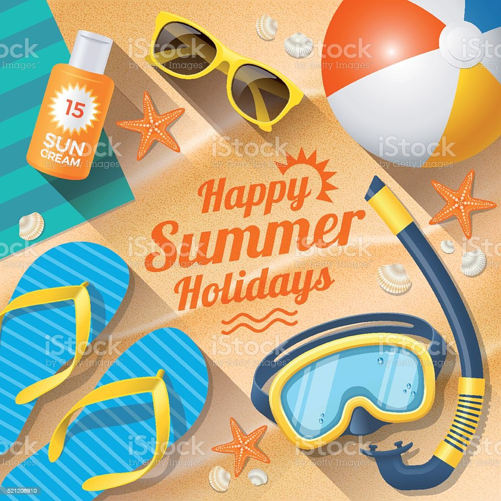 Summer Holidays with beach summer accessories vector art illustration