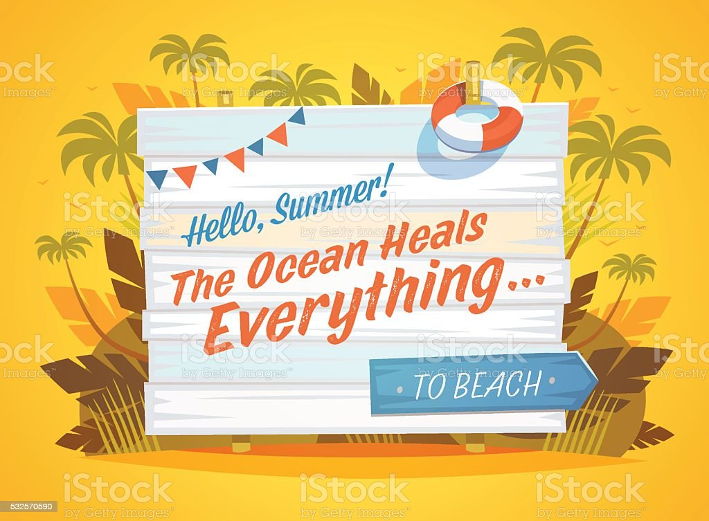 Summer Holidays. Wooden sign, palms and surf boards. vector art illustration