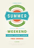 Summer Holydays Beach Party Typography Poster or Flyer Design.