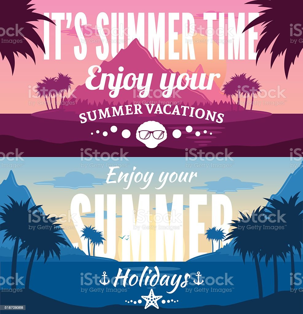 Summer Horizontal Banner Set vector art illustration