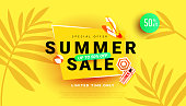 Summer sale banner for seasonal offer, promotion, advertising. Vector illustration with tropical leaves on yellow background