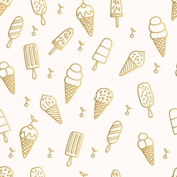 ilustraciones, imágenes clip art, dibujos animados e iconos de stock de patrón de helado del verano. fondo de oro - ice cream cone