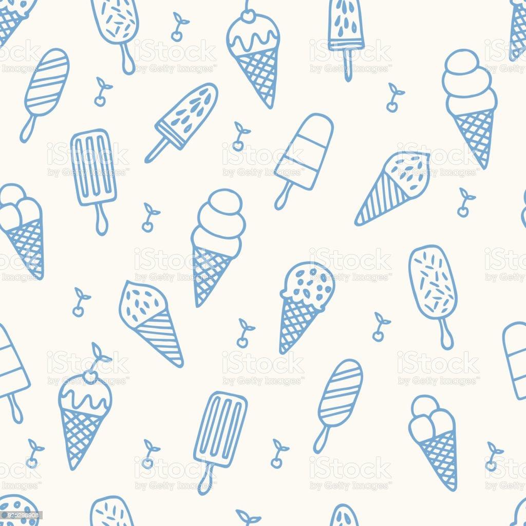 夏のアイス クリーム パターンかわいいラインのシームレスな背景