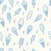 istock Summer ice cream pattern. Seamless cute line background 925298908