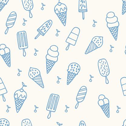 Summer ice cream pattern. Seamless cute line background