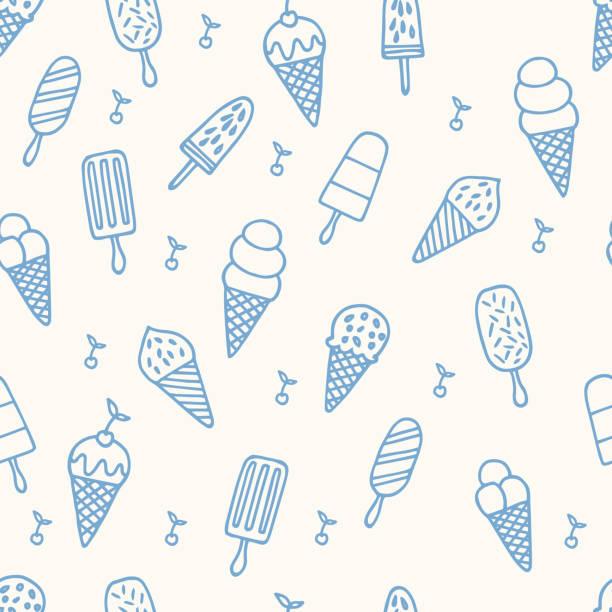 ilustrações de stock, clip art, desenhos animados e ícones de summer ice cream pattern. seamless cute line background - sorvete