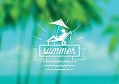 summer icon on blurred palm beach background