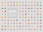 Summer vector icon set. Beach. Travel. Summertime. Vacation, eps 10