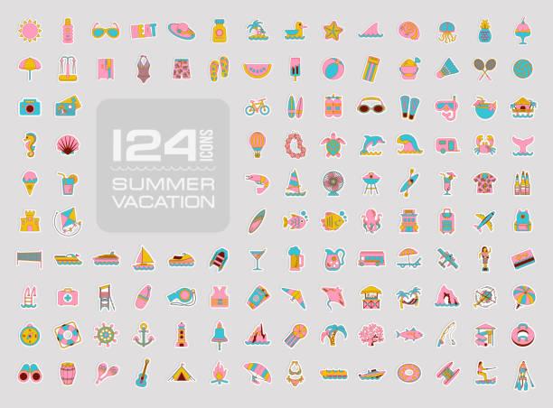 sommer-symbol gesetzt. im sommer. urlaub - schwimmpflanzen stock-grafiken, -clipart, -cartoons und -symbole