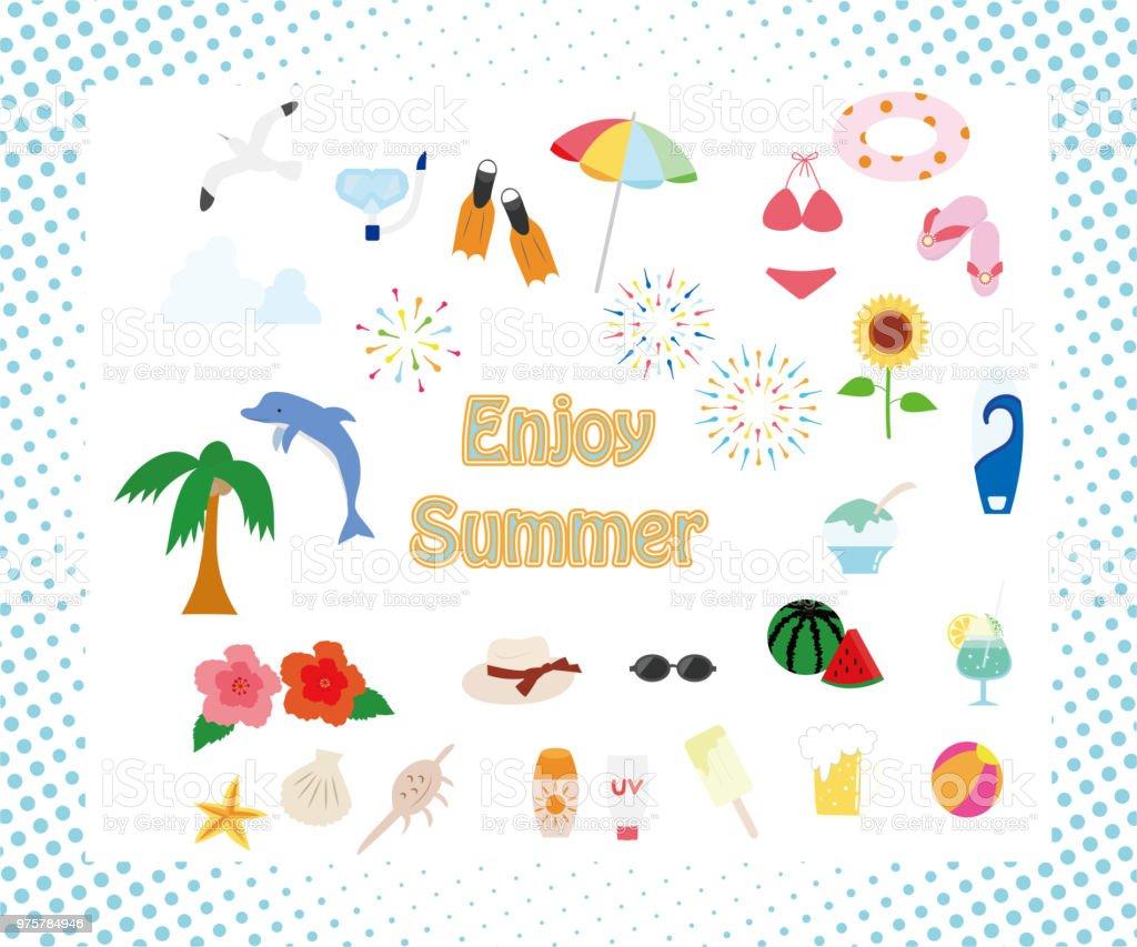 Sommer icon-set - Lizenzfrei Blume Vektorgrafik