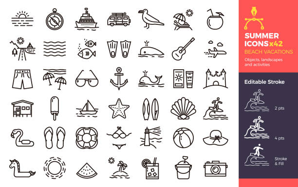 Summer icons, Beach Vacations. Objects landscapes and activities. Vector thin line illustration with Editable Stroke, easily editable. Seasonal, holiday, vacation, traveling. vector eps10 surf stock illustrations