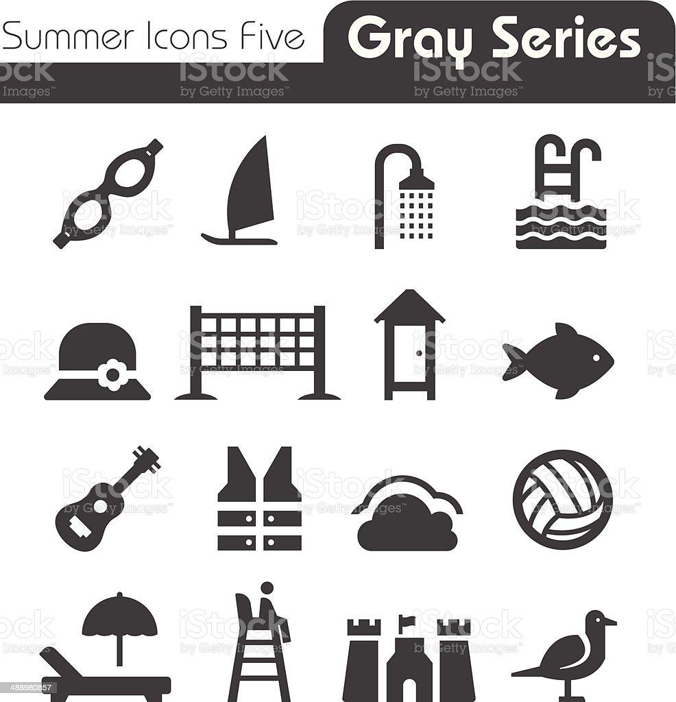 Summer Icons Five gray series vector art illustration