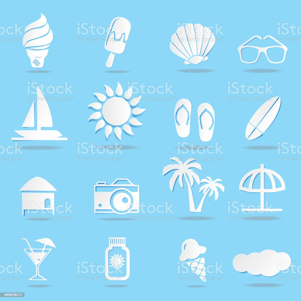 Summer Icons On The Sea Set Symbol Of Tourism For Web On A Blue ...