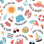 Summer icons and sayings in a seamless pattern.  EPS10 file contains transparencies.  AI10 file and hi res jpeg included, global colors used. Scroll down to see more of my illustrations linked below.