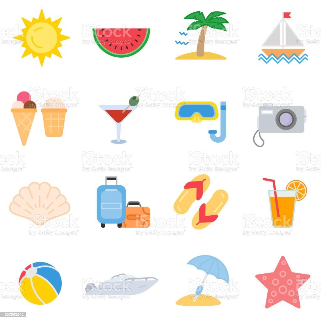 Summer Icons Set Isolated Symbols Stock Illustration