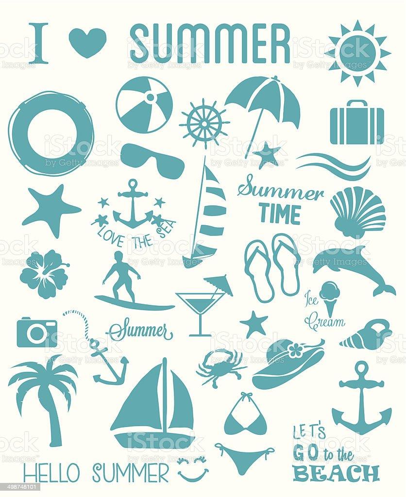 Summer Icons Set vector art illustration