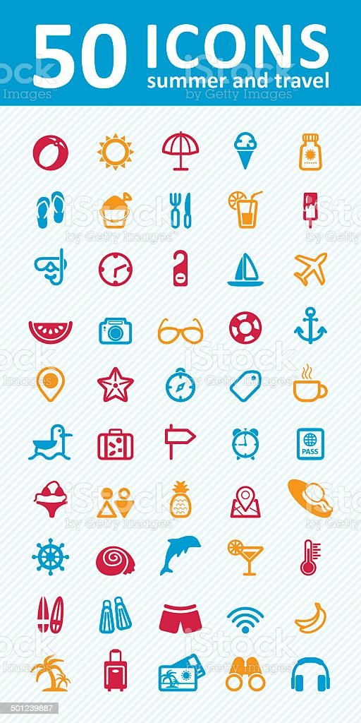 summer icons set vector art illustration