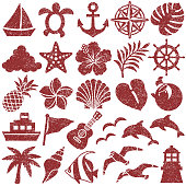 Set of summer stamp icons.