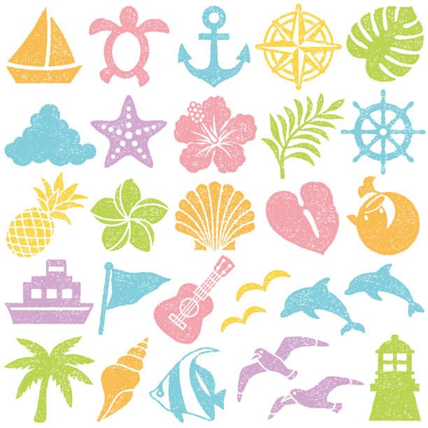 summer icons. stamp set. Set of summer stamp icons. vector illustration. beach symbols stock illustrations