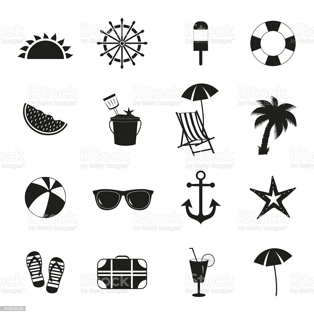 summer icons summer black icons on white background stock illustration download image now istock https www istockphoto com vector summer icons summer black icons on white background gm543345428 97478867