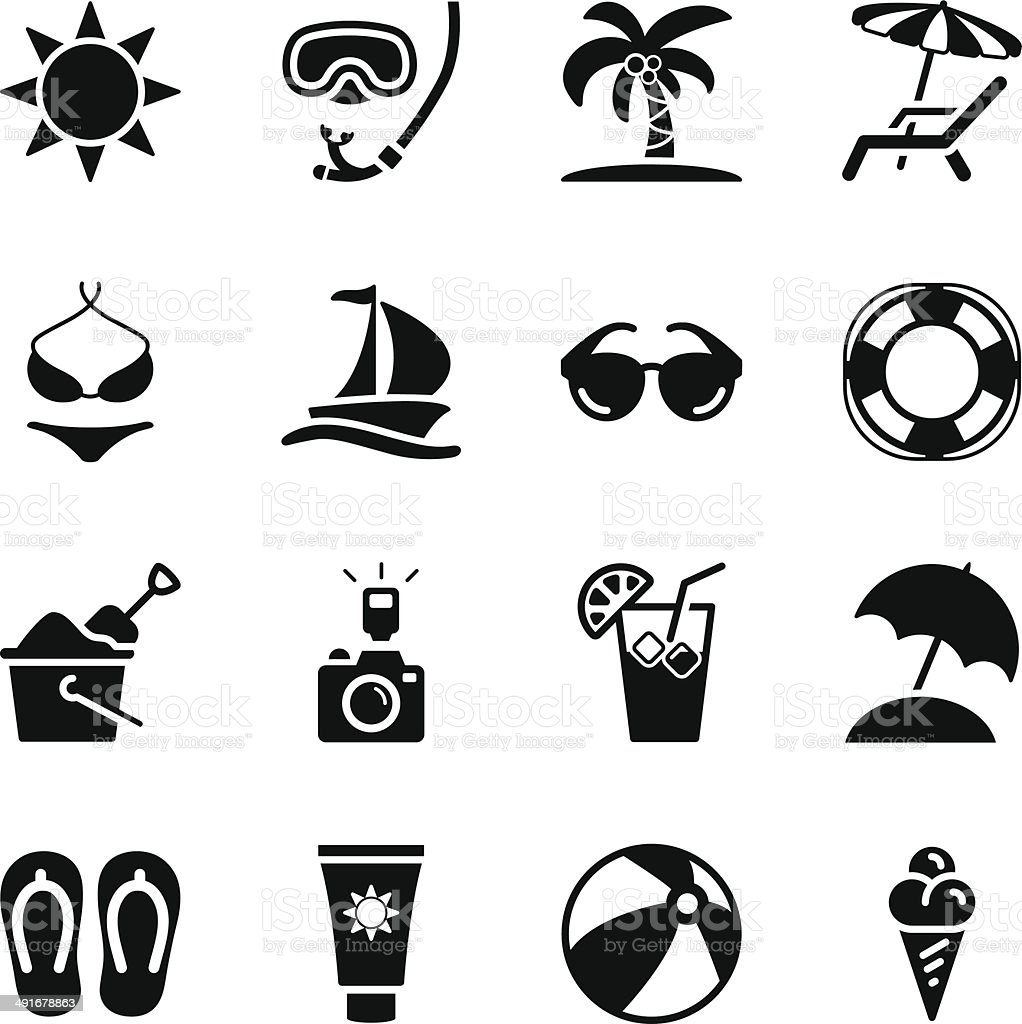 Summer Icons vector art illustration