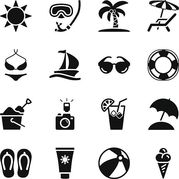 Summer Icons Vector File of Summer Icons  related vector icons for your design or application. beach clipart stock illustrations