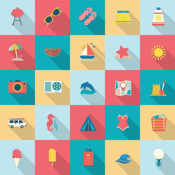 Summer icons With Shadows vector art illustration