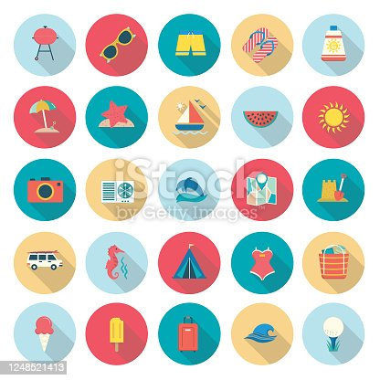 istock Summer icons With Shadows 1248521413