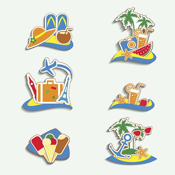 lato ikony na białym tle - ice cream stock illustrations